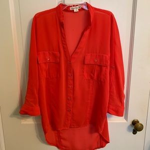 Sheer red blouse, worn once